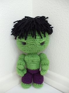 Hulk Sackboy Amigurumi (crocheted stuffed doll) FREE SHIPPING US. LOOK AT HOW FREAKING CUTE!!!