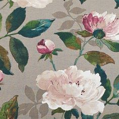 Lovely floral fabric from Edinburgh Weavers Peony Taupe, available at Wesley-Barrell