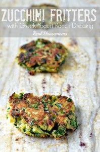 Zucchini Fritters with Greek Yogurt Ranch Dressing