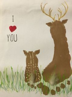 Cute footprint deer craft for kids! Adorable for Father\'s Day!