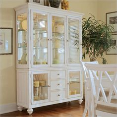 "American Drew Camden White Curio China Cabinet | One Way Furniture China Buffet: 60""W x 19""D x 34""H China Deck: 63""W x 20""D x 48""H"