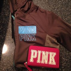 ❤️SALE TODAY & TOMORROW ONLY❤️ Hardly worn & in EXCELLENT condition zip up hoodie! It's so cute & there are NO stains. Pink wallet that is adorable & also in EXCELLENT condition! Both from Victoria secrets! Open to offers❤️ PINK Victoria's Secret Tops Sweatshirts & Hoodies