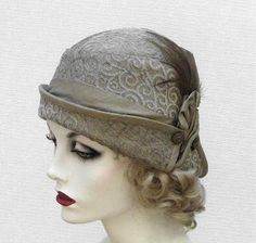 Womens Vintage Style  Flapper Cloche Hat in Sage Green Art Deco. $125.00, via Etsy.