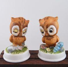 Antique owl figurines | Set of Two Cute Vintage Owl Figurines