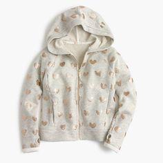 J.Crew - Girls' glitter heart hoodie