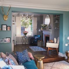 Blue living room going into a grey sitting room. Old house new home. Dix blue paint by farrow and ball. Modern home. Farrow And Ball Living Room, Home Living Room, Living Room Decor, Living Spaces, Dix Blue, Colourful Living Room, Bedroom Wall Colors, Quirky Home Decor, Living Room Inspiration