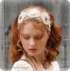 Rustic Headband Lace and Linen Eco Friendly by GreenTrunkDesigns, $20.00