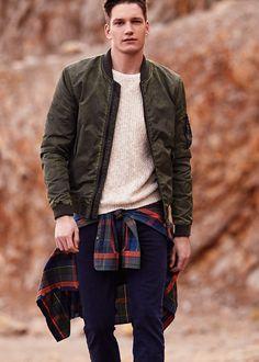 Printed lining bomber jacket - Outerwear for Men | MANGO