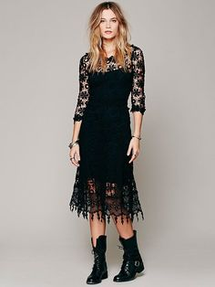 Free People Womens Black Chemical Daisy Midi Crochet Maxi Dress Size Large  #FreePeople #Maxi #Casual