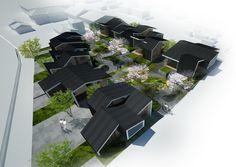 Gallery - IN-Gawa: Community Housing Proposal / INDEX Architecture #blackfacade #slopedroof #gardenarchitecture