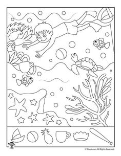 9 fun and free summer hidden pictures activity pages for effective boredom busting! Hidden Object Games, Hidden Objects, Summer Worksheets, Preschool Worksheets, Hidden Pictures Printables, Hidden Picture Puzzles, Cute Kids Pics, Ocean Themes, Drawing For Kids