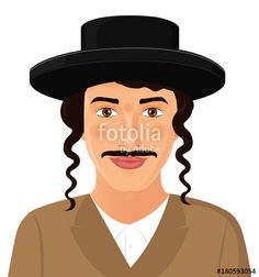 Vector: Jewish man face portrait with hat and mustache in a black suit jerusalem israel vector illustration isolated on white background.