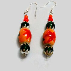 Ellipse Oval shaped Beaded Earrings, Orange and Green Bead Earrings, Painted Glass Beads Earrings, 2 inches long Earrings, Bead caps by SunMoonJewels on Etsy
