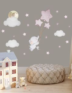 Balloon nursery Gold nursery wall sticker Elephant balloon wall decal Baby room wall sticker Elephant nursery wall decal Elephant wall decal - Decoration For Home