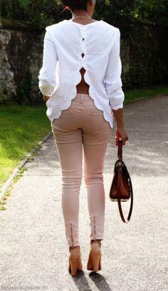 scalloped open back white blouse