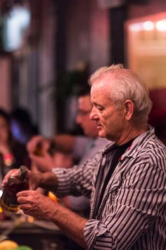 Bill Murray works a shift at the Brooklyn restaurant 21 Greenpoint, Brooklyn. (Photo: Daniel Krieger for The New York Times)