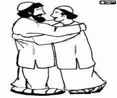 Friendly greeting between two muslims coloring page