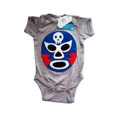 Baby Onesie - Luchador Azul - Blue Mexican Wrestler - The Nomadic Attic Crib Accessories, Mexican Wrestler, Boy Or Girl, Baby Boy, Baby Bodysuit, Baby Onesie, Lifestyle Store, Felt Applique, Fashion Boutique