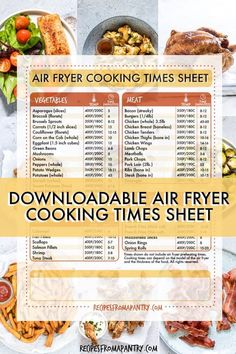 Wondering how to adjust your favorite recipes for cooking in the air fryer? - Wondering how to adjust your favorite recipes for cooking in the air fryer? This handy Air Fryer Co - Air Fryer Oven Recipes, Air Fryer Dinner Recipes, Air Fryer Cooking Times, Frozen Chicken Wings, Air Fryer Pork Chops, Air Fryer Healthy, Vegetable Recipes, Easy Meals, Healthy Recipes