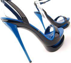 Gianmarco Lorenzi Blue & Black Stiletto Sandal 6 30 Ladies Shoes ALL FOR FASHION DESIGN