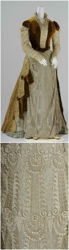 """Court dress in """"Makart"""" style, by Mme M. Frippel, 1886. Bodice of mustard silk velvet, centre front and sleeves of light blue faille covered in unbleached silk rayon, stand up collar. Skirt front section of light blue faille with hem ruffle and overskirt of unbleached silk tulle, hand-embroidered with glass beads, side sections of silk brocade and mustard coloured silk velvet, skirt rear section of mustard coloured silk velvet. Wien Museum (photos: Christin Losta), via Google Cultural…"""