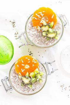 Super easy Coconut Chia Pudding recipe without any added sugar. You can make it in 5 minutes and eat it right away or let it sit in the fridge overnight. Healthy Breakfast For Kids, Breakfast Bites, Healthy Breakfasts, Healthy Recipes For Diabetics, Real Food Recipes, Diabetic Recipes, Vegan Chia Seed Pudding, Real Food Cafe, Pudding Recipes