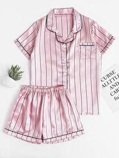 SheIn offers Pinstripe Revere Collar Satin Pajama Set & more to fit your fashionable needs. Satin Pyjama Set, Satin Pajamas, Pyjamas, Pajama Set, Cute Pjs, Cute Pajamas, Cute Sleepwear, Sleepwear Women, Satin Sleepwear