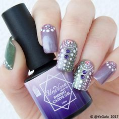 "8,799 Me gusta, 27 comentarios - Galina S. (@yagala) en Instagram: ""Dot nail design with thermo gel polishes Unikorn TH2, TH6 from @studiokxunikorn Video tutorial…"""