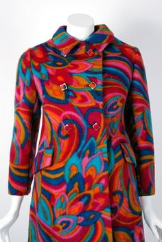 1960's Bill Blass Psychedelic Op-Art Print Wool Double-Breasted Mod Coat & Skirt Ensemble image 2
