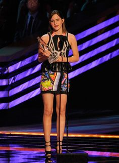 People's Choice Awards: Emma Watson accepts the award for Favourite Dramatic Movie Actress. She was chic in a Peter Pilotto printed minidress