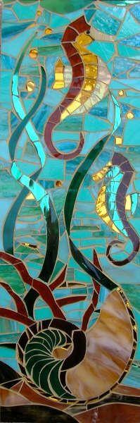 Sea Horses & Nautilus - Mosaic   #design #mosaic