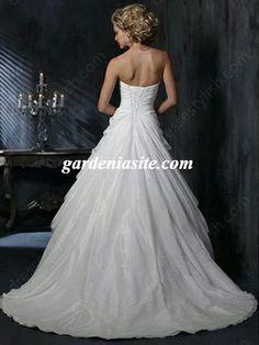 Princess Sweetheart Taffeta Sweep Train Appliques Wedding Dresses - Gardeniasite