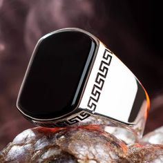 Man Ring Natural Stone(Zircon) Handmade Sterling Silver Made in Turkey Outstanding Gift by RoarSilver on Etsy Mens Ring Designs, Sterling Silver Mens Rings, Gold And Silver Rings, 925 Silver, Men's Jewelry Rings, Man Jewelry, Jewellery, Argent Sterling, Silver Man