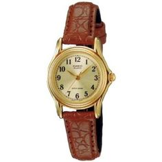 Casio Womens LTP1096Q-9B1 Brown Leather Quartz Watch with Gold Dial