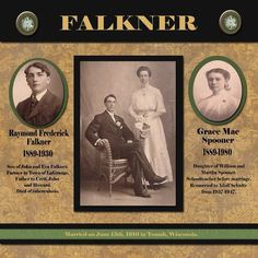 Falkner Family, pg. 1 ~ Traditionally designed two page heritage layout. Love the close-up photos along with the wedding portrait.