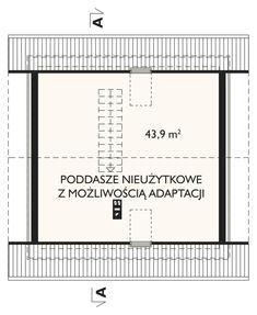 Projekt domu Ziarko - malutki domek, z możliwością adaptacji poddasza w II etapie budowy beton komórkowy - Archeton.pl Floor Plans, Diagram, House Styles, Floor Plan Drawing, House Floor Plans