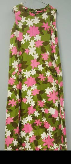 4c898fcdeaab Vintage Mod Green, Pink and White Floral Mumu Hawaiian Luau Dress by Kahala  size Medium to Large