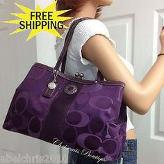 Coach Large Purple Signature Carryall Kisslock Tote Handbag Purse Bag Multi