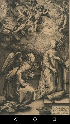 The Annunciation, from The Life of the Virgin Published 1632 Dark Fantasy Art, Dark Art, Art Sketches, Art Drawings, Religious Tattoos, Arte Obscura, Demon Art, Macabre Art, Biblical Art