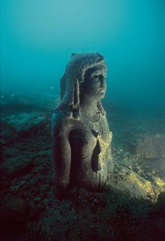 museum-of-artifacts The Dark Queen statue probably depicting the Ptolemaic queen Cleopatra III ruled 142 101 BC Discovered in the lost sunken city of Thonis-Heracleion Ancient Ruins, Ancient Egyptian Cities, Ancient Artifacts, Ancient History, Egyptian Symbols, European History, Ancient Greece, American History, Underwater Ruins