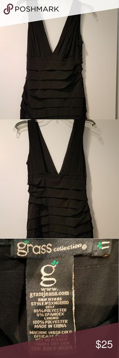 Black Deep V Cocktail Dress Black pleated dress with a deep plunging neckline worn only once to a cocktail party. Women's size 8 juniors 11....If you like it make me an offer!!!  *Pet and smoke-free home! I often adjust my price during Posh parties and promos, keep an eye out!! Offers welcomed! Grass Collection Dresses Mini