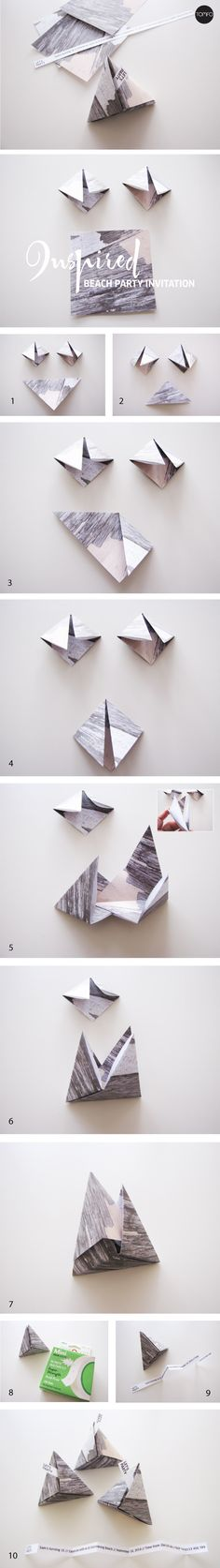 DIY beach party invitations – folded 3D triangles | TOMFO