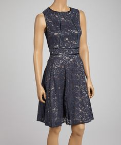 Take a look at this Nude & Black Sheer Lace Overlay Sleeveless A-Line Dress - Women on zulily today!