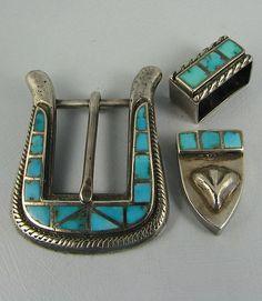Zuni Turquoise Inlay Ranger Buckle Set