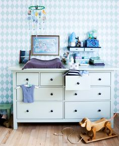 Idea for changing table; Ikea's Hemnes ...without the frame above the head...