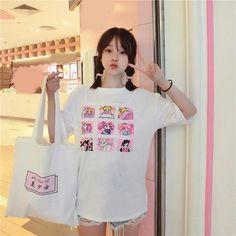 f1d8beb63ff Sailor Moon TOKYO Sailor Mini Moon Pink Kawaii Loose T-Shirt Screen Printed  Top Shirt Short Sleeve Sailor Scouts