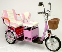 My mom would love this. Trikaroo Electric Mobility Scooter Two Seater Dual Seat Tandem Pedicab Golf Cart-I need this! Barbie Car, Barbie Sets, Tricycle, Mini Things, Cool Things To Buy, Camper, Velo Cargo, Disney Coffee Mugs, Cool Inventions