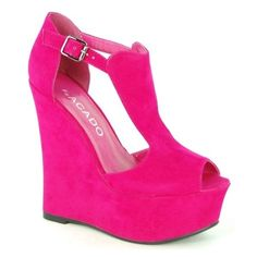 Wildly Hot Pink Acado platform wedges new fave shoes since mine died? Stilettos, High Heels, Christian Louboutin, Cute Shoes, Me Too Shoes, Hot Pink Wedges, Hot Pink Heels, Pink Pumps, Look Fashion