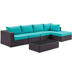 Convene Turquoise Fabric Rattan 5pc Outdoor Sectional Set w/RAF Chaise