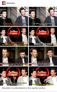 Marvel Tom Holland and Benedict Cumberbatch Marvel Funny, Marvel Memes, Marvel Dc Comics, Marvel Avengers, Dc Movies, Infinity War, Marvel Actors, Doctor Strange, Tom Holland